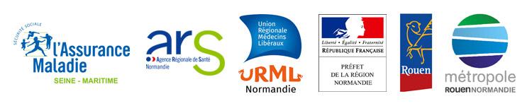 Nos partenaires sport santé : l'assurance maladie, l'ARS, l'URML, le Préfet de la région Normandie, la ville de Rouen et la Métropole Rouen Normandie